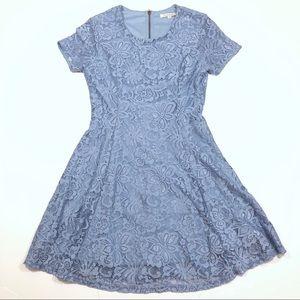 Francesca's Powder Blue Lace Floral Fit Flare Dres